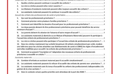 COVID 19 – MODES D'ACCUEIL DU JEUNE ENFANT 0-3 ANS FAQ – Relatives aux consignes du 02.04.2021